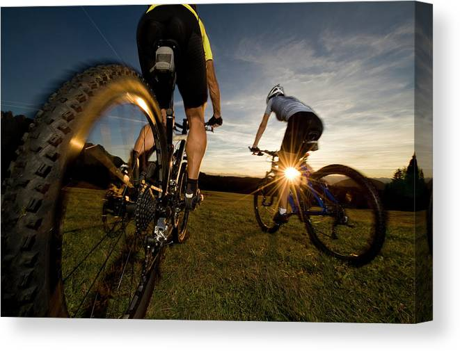 Blurred Motion Canvas Print featuring the photograph Cycling Adventure by Gorfer