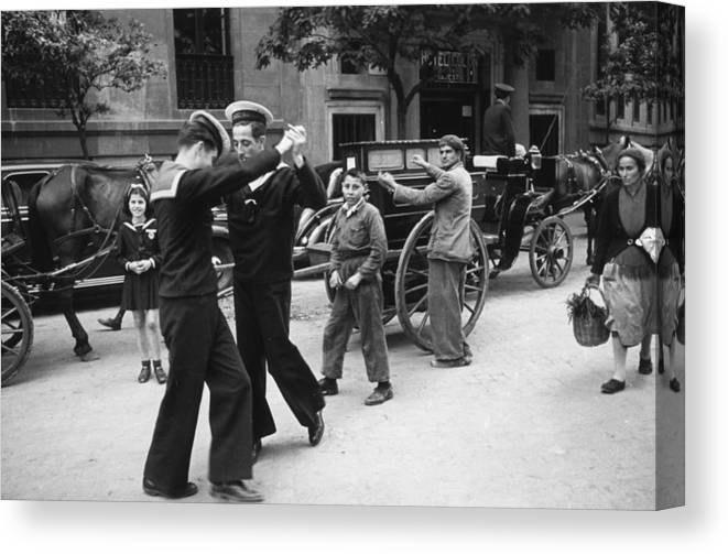 Music Canvas Print featuring the photograph Dancing Sailors by Haywood Magee