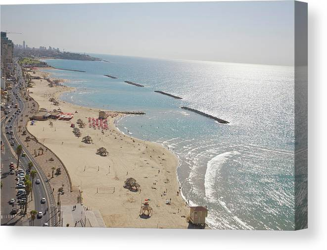 Tranquility Canvas Print featuring the photograph Day View Of Tel Aviv Promenade And Beach by Barry Winiker