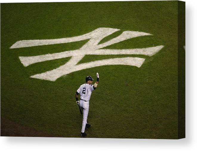 Derek Jeter Canvas Print featuring the photograph Derek Jeter Walks To The Plate by Jed Jacobsohn