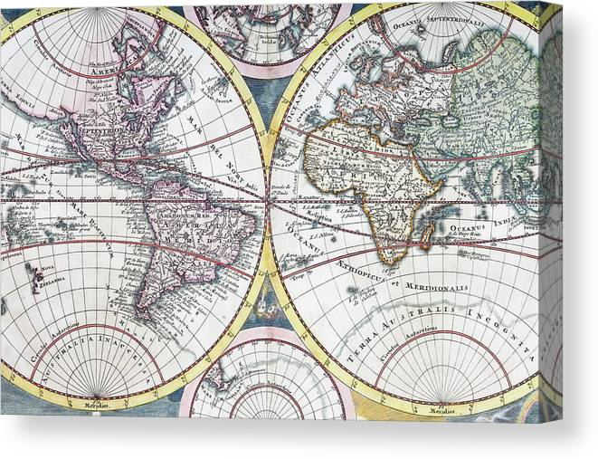 Engraving Canvas Print featuring the digital art Detail Copper Engraving Of World Map by Grafissimo