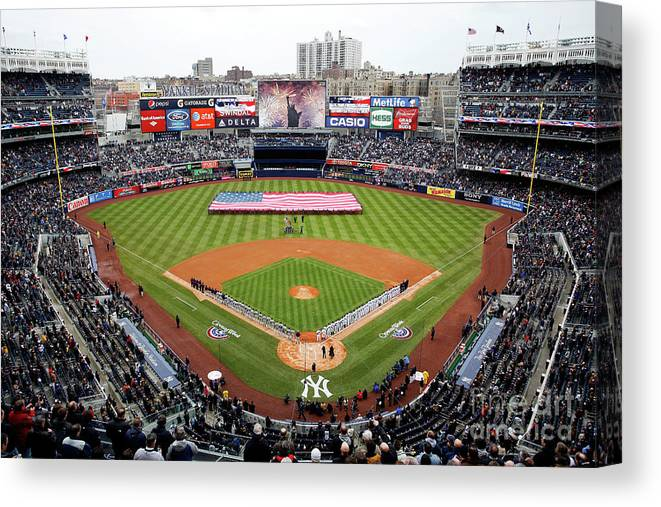 Topics Canvas Print featuring the photograph Detroit Tigers V New York Yankees by Jeff Zelevansky