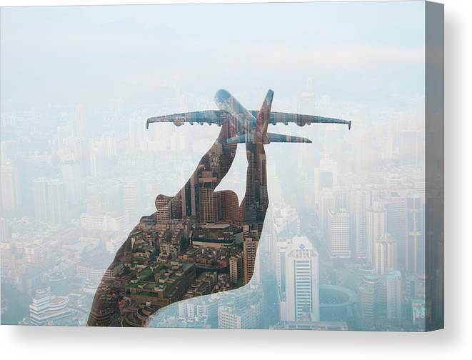 People Canvas Print featuring the photograph Double Exposure Of Hand Holding Model by Jasper James