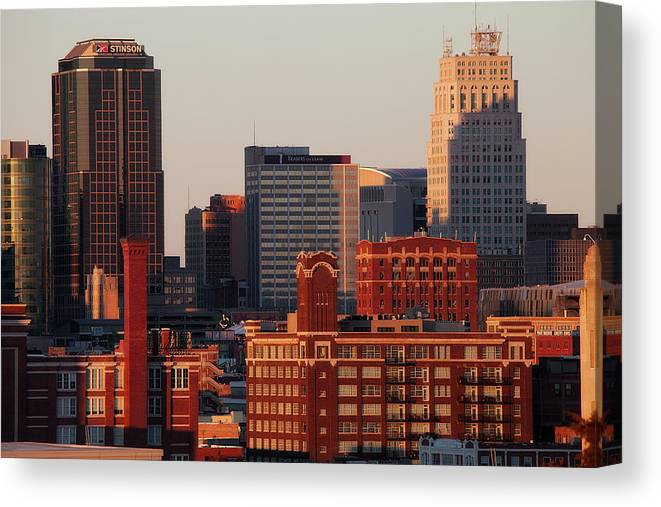 Downtown District Canvas Print featuring the photograph Downtown Kansas City by Eric Bowers Photo