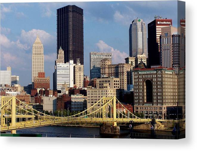 Downtown District Canvas Print featuring the photograph Downtown Pittsburgh Panorama From Pnc by Photo By Paul D. Toth