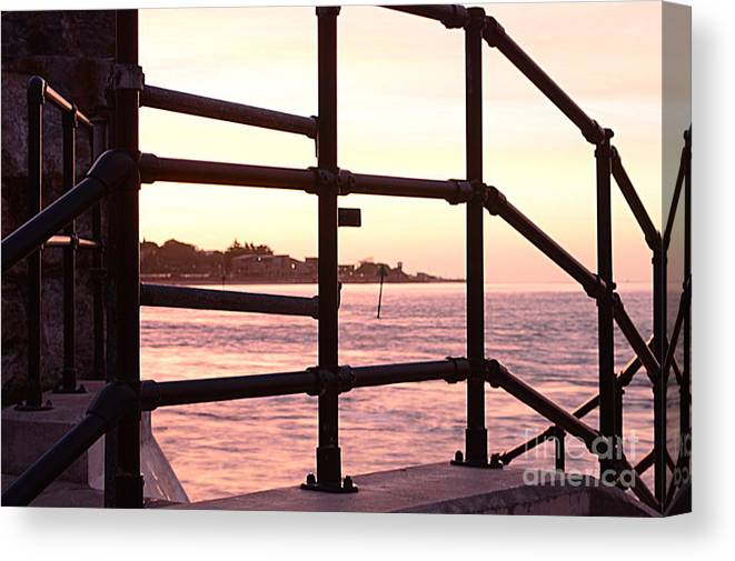 Railings Canvas Print featuring the photograph Early Morning Railings by Andy Thompson