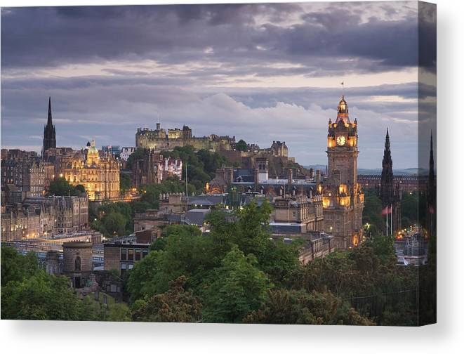 Lothian Canvas Print featuring the photograph Edinburgh At Dusk by Northlightimages