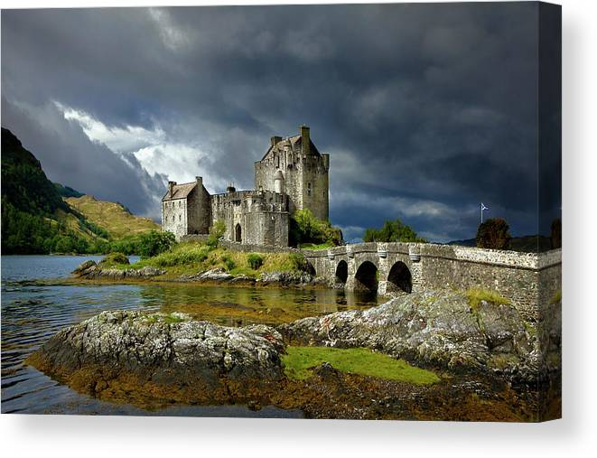 Outdoors Canvas Print featuring the photograph Eilean Donan Castle, Scotland by Daryl Benson