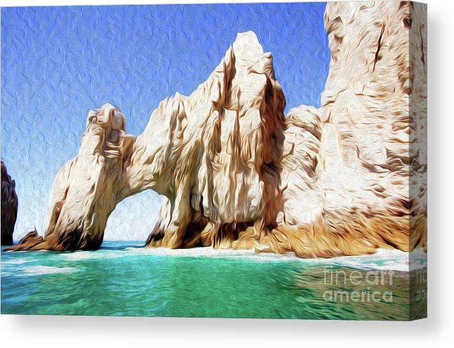 El Arco De Cabo San Lucas Canvas Print featuring the digital art El Arco de Cabo San Lucas I by Kenneth Montgomery