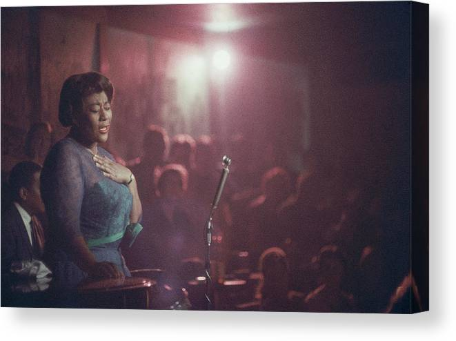 Ella Fitzgerald Canvas Print featuring the photograph Ella Fitzgerald Performs by Yale Joel