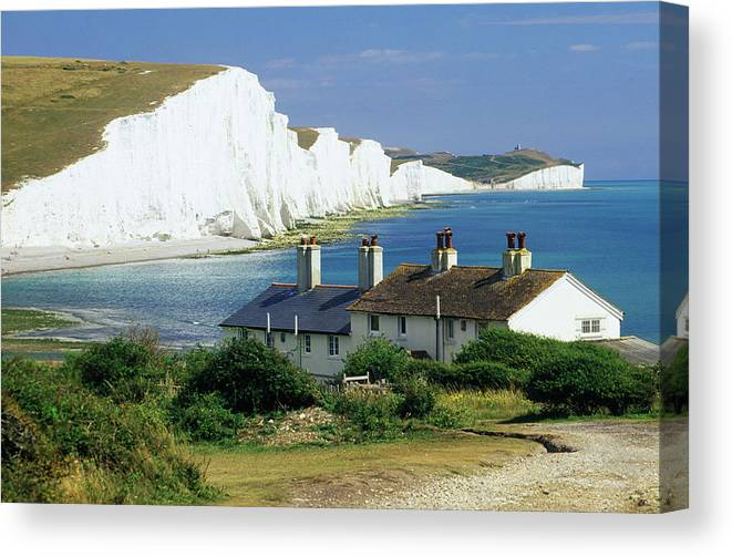 Scenics Canvas Print featuring the photograph England, Sussex, Seven Sisters Cliffs by David C Tomlinson
