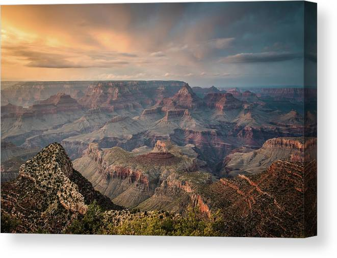 Majestic Canvas Print featuring the photograph Epic Sunset Over Grand Canyon South Rim by Wayfarerlife Photography