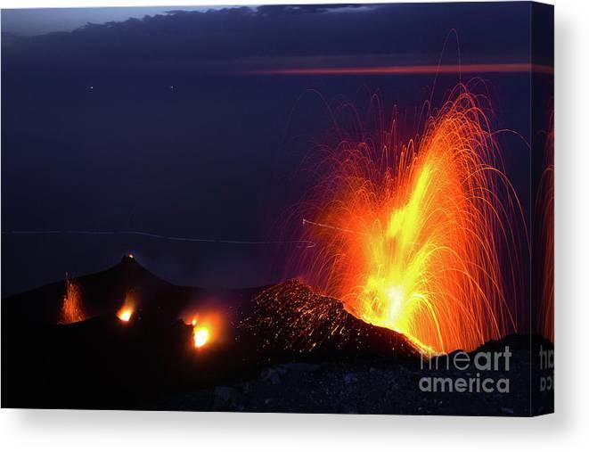 Non-urban Scene Canvas Print featuring the photograph Eruption Of Stromboli Volcano, Italy by Francesco Sartori