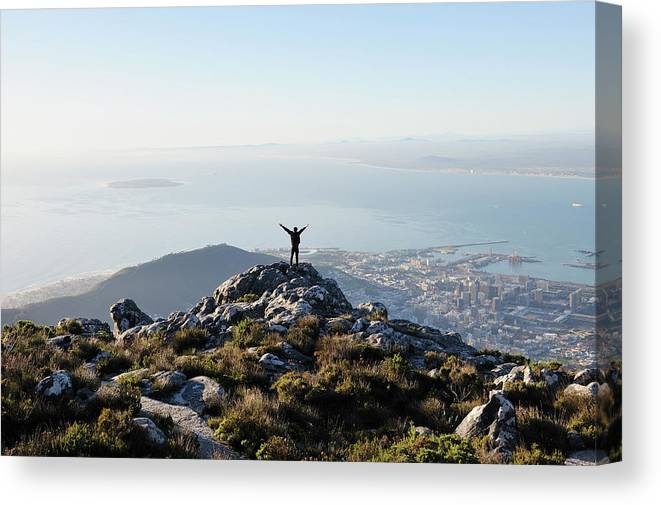 Scenics Canvas Print featuring the photograph Exuberant Man On Top Of Table Mountain by David Malan