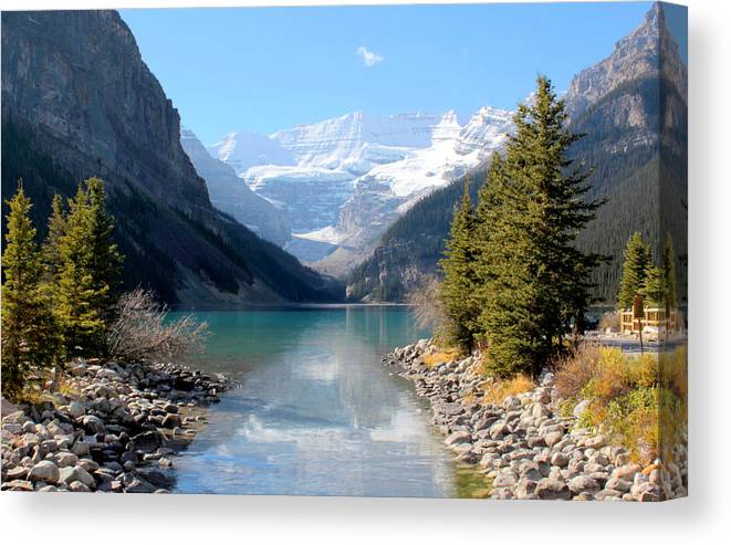 Tranquility Canvas Print featuring the photograph Fall At Lake Louise , Alberta, Canada by Cynthia Russell Photography