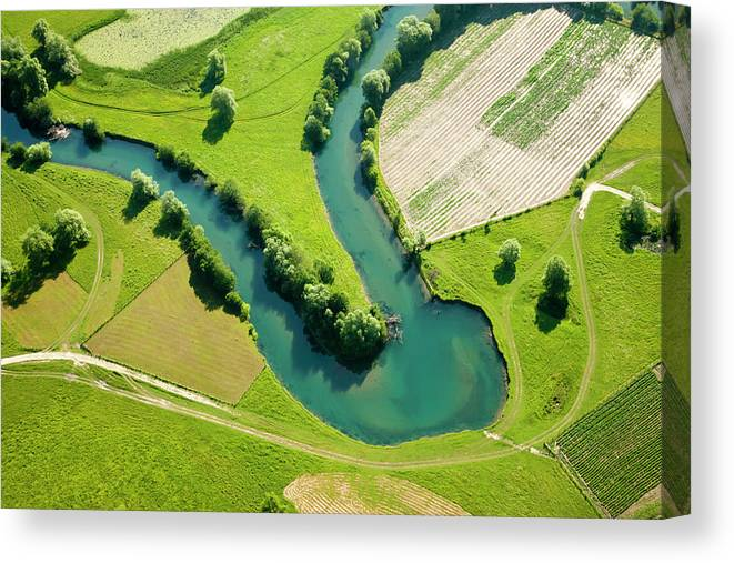 Scenics Canvas Print featuring the photograph Farmland Patchwork, Aerial View by Vpopovic