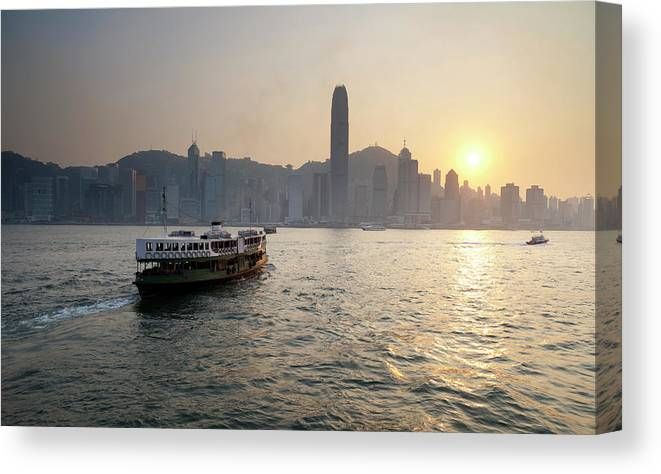 Chinese Culture Canvas Print featuring the photograph Ferry Boat To Hong Kong by Simonbradfield