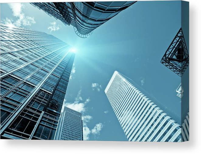Working Canvas Print featuring the photograph Financial District, Canary Wharf In by Zodebala