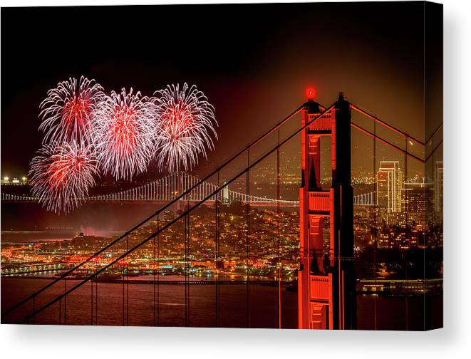 San Francisco Canvas Print featuring the photograph Firework At San Francisco, California by Spondylolithesis