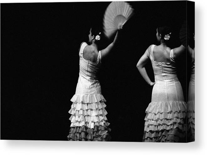 Ballet Dancer Canvas Print featuring the photograph Flamenco Lace Fan by T-immagini