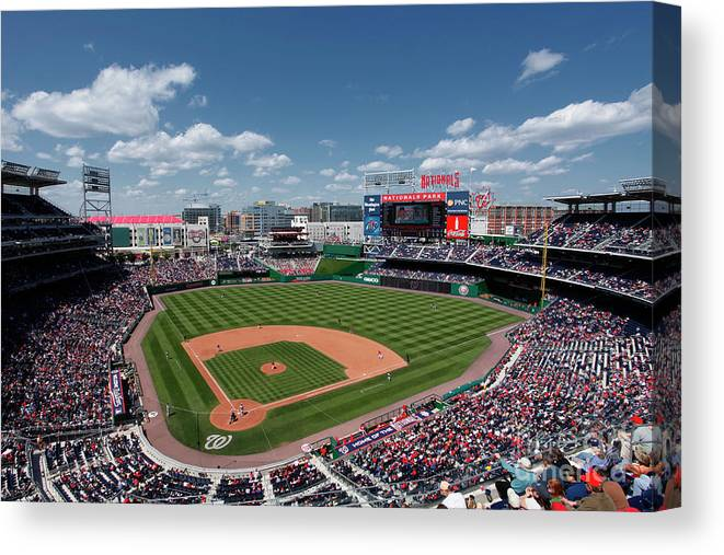 National League Baseball Canvas Print featuring the photograph Florida Marlins V Washington Nationals by Joe Robbins