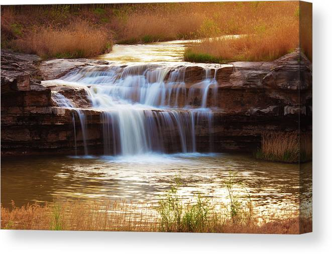 Scenics Canvas Print featuring the photograph Flowing Water On The Yellow Rock by Xenotar