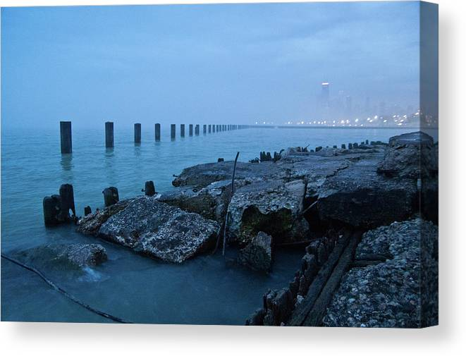 Lake Michigan Canvas Print featuring the photograph Foggy View Of Chicago From Lakeshore by Megan Ahrens