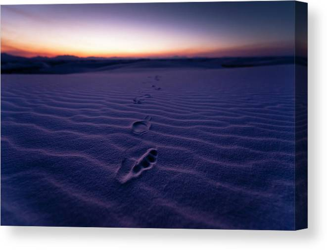 New Mexico Canvas Print featuring the photograph Footprint On Dunes by Son Gallery - Wilson Lee