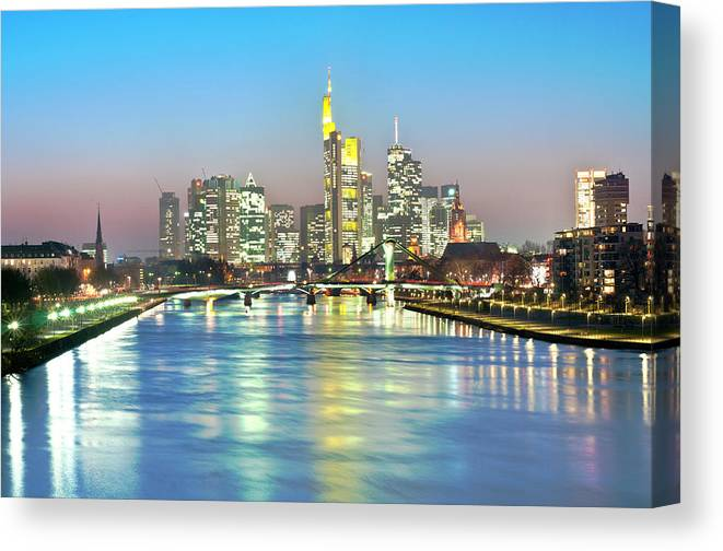 Hesse Canvas Print featuring the photograph Frankfurt Night Skyline by Ixefra