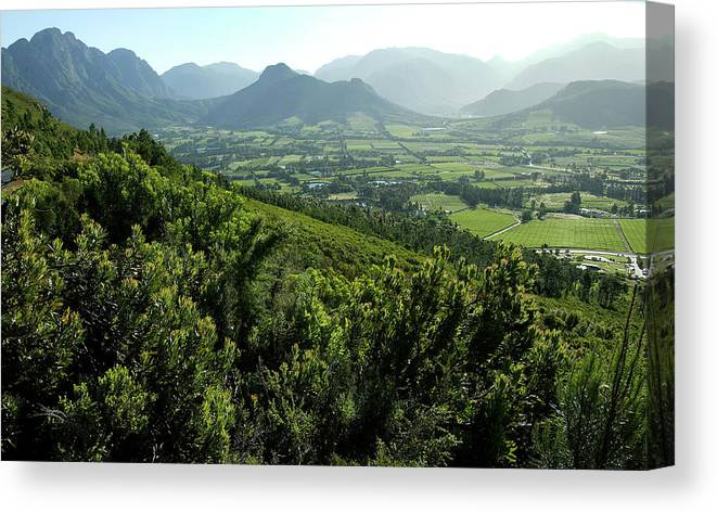 South Africa Canvas Print featuring the photograph Franschhoek Valley by Ruvanboshoff