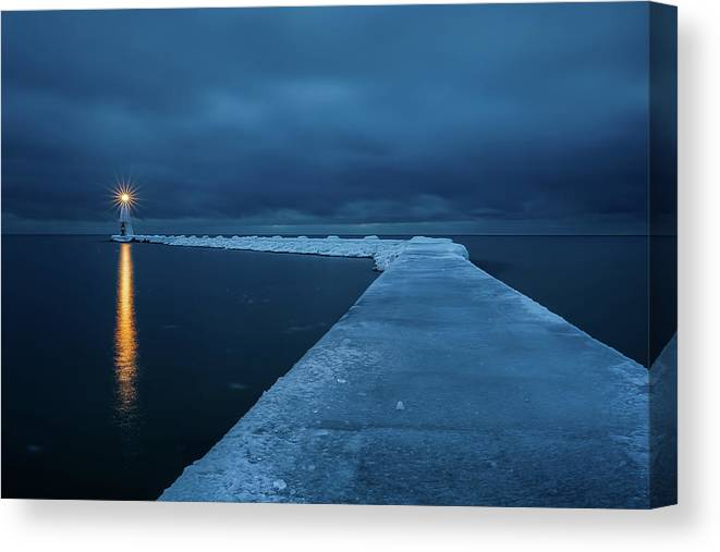 Tranquility Canvas Print featuring the photograph Frozen Path by John Fan Photography