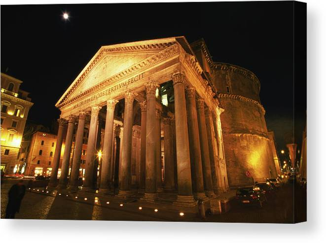 Pantheon Canvas Print featuring the photograph Full Moon Over Pantheon And Portico by Lonely Planet