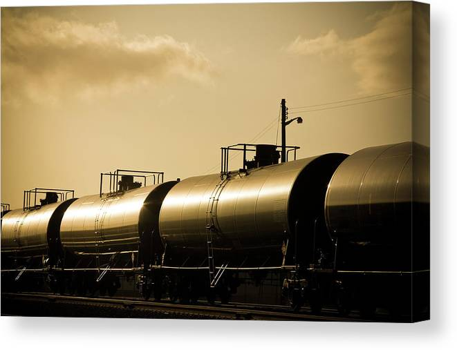 Natural Gas Canvas Print featuring the photograph Gasoline Train At Sunset by Halbergman