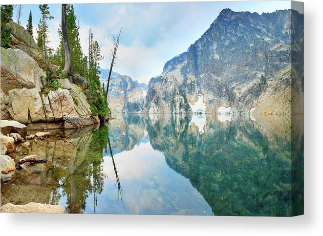Tranquility Canvas Print featuring the photograph Goat Lake On Cloudy Day In Sawtooth by Anna Gorin