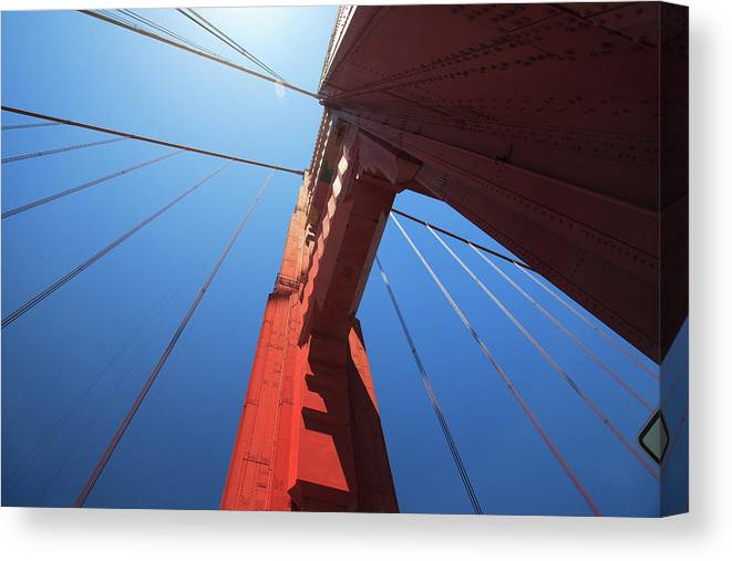 San Francisco Canvas Print featuring the photograph Golden Gate Bridge Tower by Mortonphotographic
