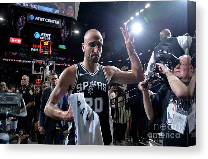Playoffs Canvas Print featuring the photograph Golden State Warriors V San Antonio by Mark Sobhani
