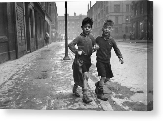 Child Canvas Print featuring the photograph Gorbals Boys by Bert Hardy