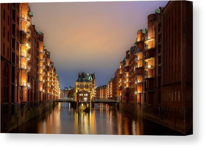 Hamburg Canvas Print featuring the photograph Hamburg Hafen City by Jie Fischer