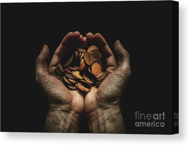 Coin Canvas Print featuring the photograph Hands Holding Coins Against Black by Andy Kirby