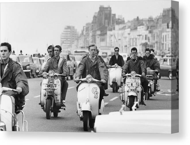 People Canvas Print featuring the photograph Hastings Mods by Terry Fincher