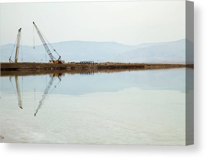Working Canvas Print featuring the photograph Heavy Machinery At The Dead Sea by Eldadcarin