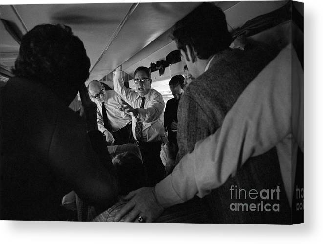 Event Canvas Print featuring the photograph Henry Kissinger Talking With Journalists by Bettmann