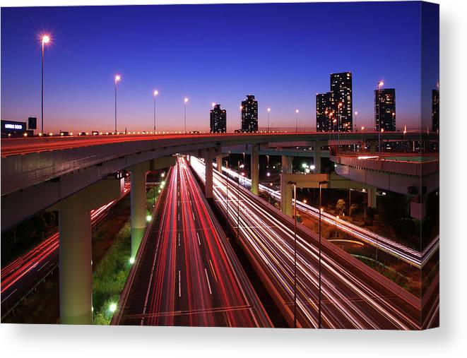 Two Lane Highway Canvas Print featuring the photograph Highway At Night by Takuya Igarashi