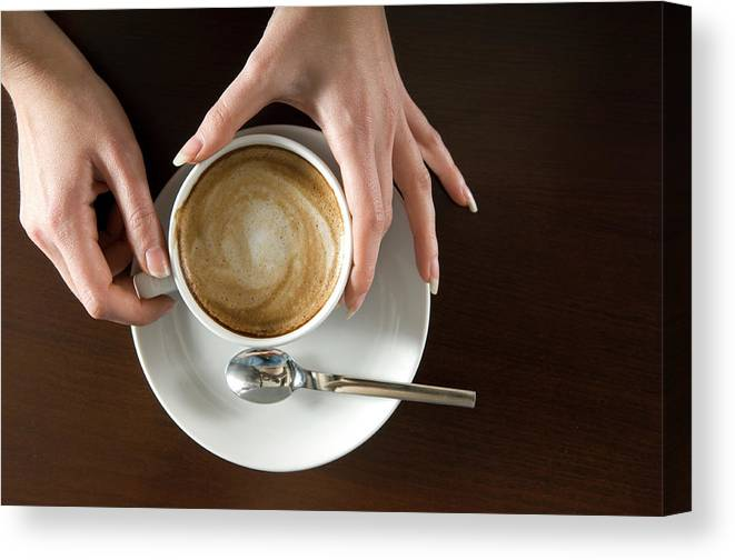 Spoon Canvas Print featuring the photograph Holding Cappuccino by 1001nights