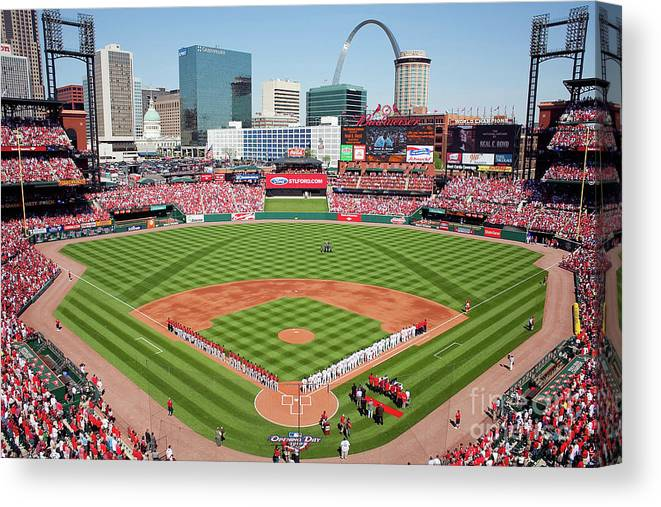 Opening Canvas Print featuring the photograph Houston Astros V St. Louis Cardinals by Dilip Vishwanat