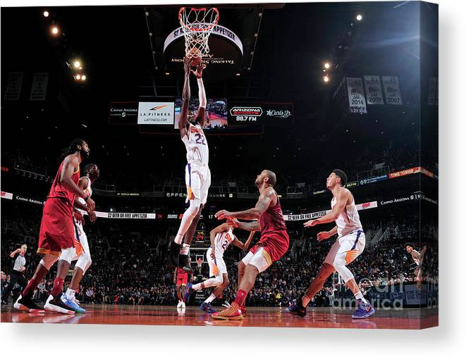 Nba Pro Basketball Canvas Print featuring the photograph Houston Rockets V Phoenix Suns by Barry Gossage