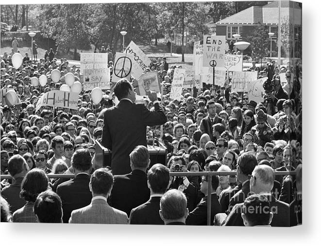 Crowd Of People Canvas Print featuring the photograph Hubert Humphrey Speaking To Crowd by Bettmann