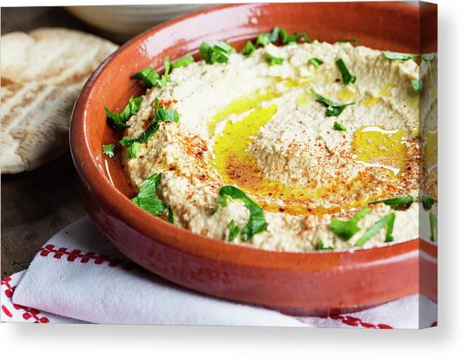 Dish Towel Canvas Print featuring the photograph Hummus Mediterranean Style by Silvia Jansen