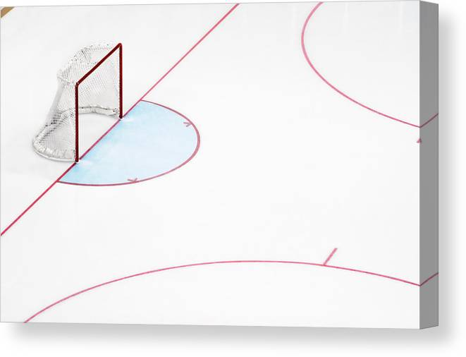 Sport Canvas Print featuring the photograph Ice Hockey Goal Net And Empty Rink by David Madison