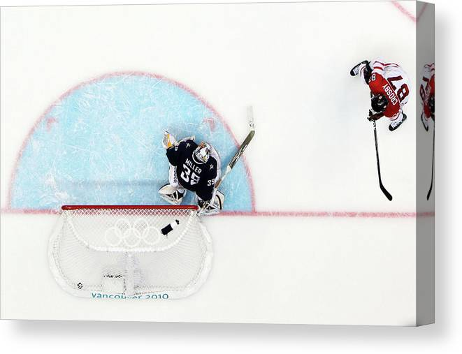 Ryan Miller Canvas Print featuring the photograph Ice Hockey - Mens Gold Medal Game - Day by Bruce Bennett